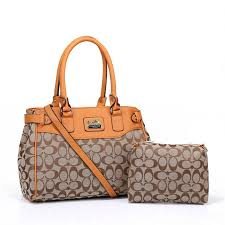 Coach Logo Monogram HW305 Two-Piece Satchel In Apricot