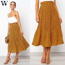 Womail Women <b>Skirt Summer</b> Fashion <b>Bohemia</b> High Waist Line ...