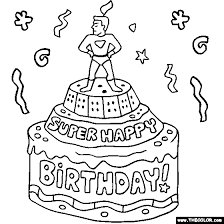 Small Picture Super Happy Birthday Cake Online Coloring Page