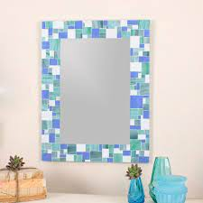 mosaic tile wall mirror for blue home