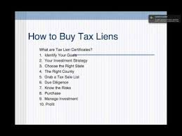 tax lien investing how to buy tax liens and tax lien certificates youtube