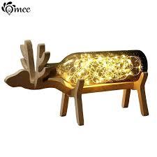 deer table lamp wood deer night light handmade blue gray glass bottle study led table lamp deer table lamp