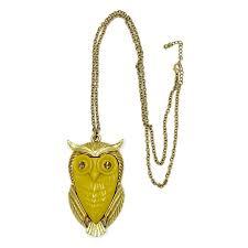 large mustard acrylic owl pendant necklace