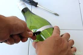 step 2 score and cut your wine bottles