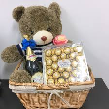 chagne teddy gift basket gb6