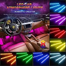 Interior led lighting Custom Car Led Strip Light Wsiiroon 4pcs 48 Led Multicolor Music Car Interior Lights Under Dash Amazoncom Amazoncom Car Led Strip Light Wsiiroon 4pcs 48 Led Multicolor