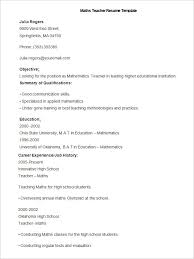 Sample Maths Teacher Resume Template