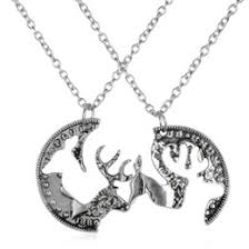 whole puzzle necklace end boyfriend friend deer head heart hunting southern love buck doe his hers promise necklace for gifts