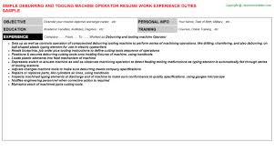 Deburring And Tooling Machine Operator Resume | Resumes Templates ...