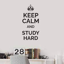 Keep Calm Study Hard Quote Vinyl Wall ...
