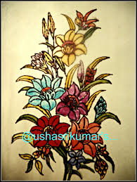 a bunch of flowers a stained glass painting