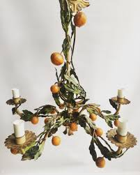 vintage italian orange tole chandelier