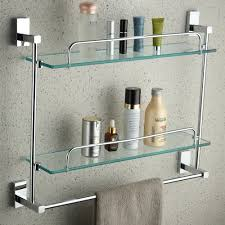 yutu jl00 wall mounted rctangular bathroom cosmetic shelf with towel bar polished chrome solid brass glass