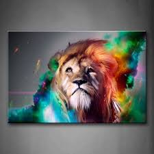 com colorful lion artistic wall art painting the picture print on canvas animal pictures for home decor decoration gift posters prints