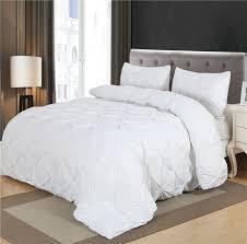 white duvet cover set pinch pleat 2 3pcs twin queen king size bedclothes
