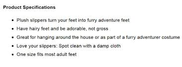 simple steps to writing product descriptions that sell thinkgeek furry adventure slippers