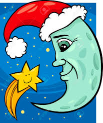 Cartoon Illustration Of Funny Moon As Santa Claus Character With