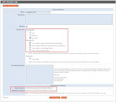 the api account add section highlighting the permissions and oauth sections