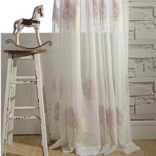 elegant white tree embroidered sheer curtains
