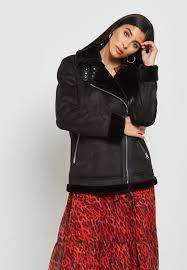 wallis black faux fur collar biker jacket 058312001 for women in oman wa854at58tzx