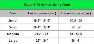 Bauer 2100 Helmet Size Chart 13 Studious Bauer Runner Size Chart