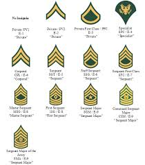 Army Nco Ranks Chart Collegiate School Ranking Military Rank Chart In Order
