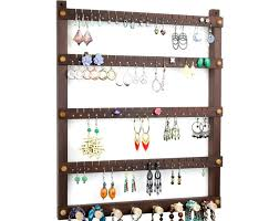 tom s earring holders peruvian walnut earring organizer with necklace rack
