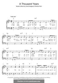 a thousand years piano sheet music a thousand years by c perri d hodges sheet music on musicaneo