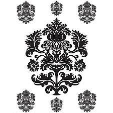 spirit black and white damask wall art decals