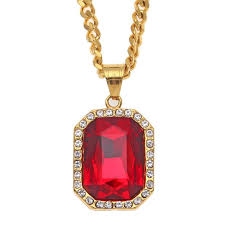 whole trendy bling ruby pendant mens necklace stainless steel gold plated hip hop cuban chain necklaces pendants men hiphop jewelry nl 474