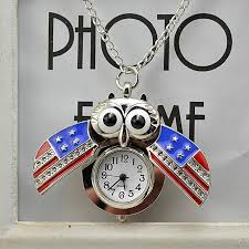fashion watch vintage style retro slide owl pendant long necklace og pocket watch gift multicolor