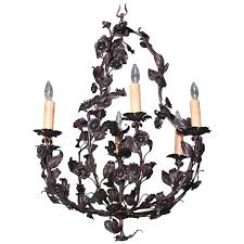 early 20th century french six light metal and tole chandelier with flowers
