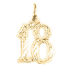 sterling silver number eighteen 18 pendant rhodium yellow or rose gold