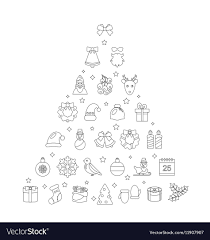 Traditional Symbols Christmas Line Traditional Symbols Simple Outline Vector Image