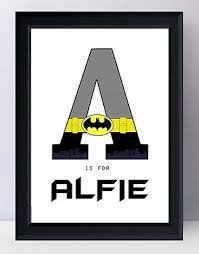 batman personalised birthday gift childrens boys wall art a4 print unframed  on personalised baby wall art uk with batman personalised birthday gift childrens boys wall art a4