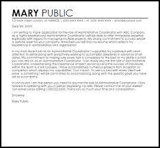 Administrative Coordinator Cover Letter Sample Livecareer
