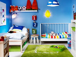 kids bedroom with blue wall paint color and ikea furniture blue kids furniture wall