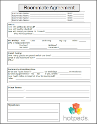 Sample Roommate Contract Printable Sample Roommate Agreement Form Form Real Estate Forms