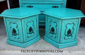 distressed turquoise furniture. Hexagon End Tables In Distressed Turquoise With Black Glaze Original Pulls Painted From Throughout Furniture