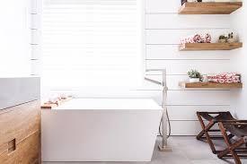 stacked wooden floating bath shelves