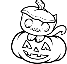 Small Picture Cute pumpkin coloring pages with kitten ColoringStar