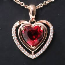 details about 3ct heart red ruby pendant necklace women wedding engagement anniversary jewelry