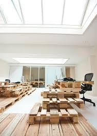 natural office lighting. Alluring Recycled Pallets Office: New Way To Keep Unused Items: Green Office Design With Natural Lighting