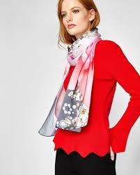 Designer Head Scarf Ted Baker Blenheim Palace Jewels Long Silk Scarf Grey Silk