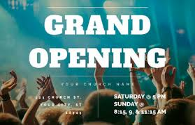 Grand Opening Postcards Grand Opening Crowd Postcard Church Postcards Outreach Marketing