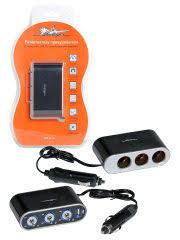 Прикуриватель-<b>разветвитель 3 гнезда</b> 5А + USB 1A, с ...