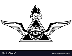 Graphic Winged All Seeing Eye With Triangle