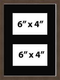 multi aperture picture photo frame fits 2 6x4 photos black mount made in uk mahogany