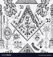 Freemason Design Seamless Background With Freemason Symbols