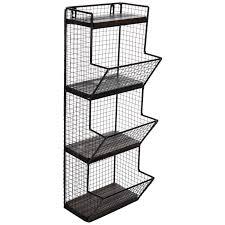 black three tiered metal wall basket
